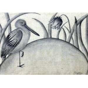 Dulce (Filha de Tarsila do Amaral), O Pássaro e a Flor, Grafite, 20 alt X 25 larg (cm), acid, Ano: 1928
