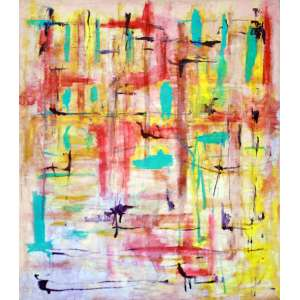 Ju Corte Real, Abstrato em rosa, Óleo sobre tela, 80 alt X 68 larg (cm), ass. no verso, Ano: 1997