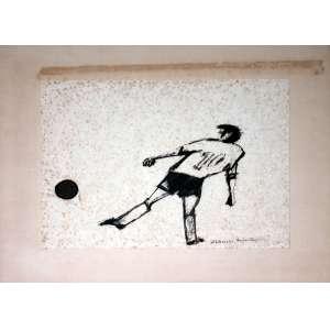 Aldemir Martins, Camisa 10, Técnica mista sobre papel, 22 alt X 28 larg (cm), acid -Histórico: Obra Apresenta Detalhes no Papel.