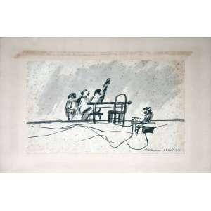 Aldemir Martins, Mesa de Amigos, Técnica mista sobre papel, 22 alt X 28 larg (cm), acid -Histórico: Obra Apresenta Detalhes no Papel.
