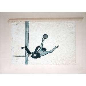 Aldemir Martins, Goleiro, Técnica mista sobre papel, 22 alt X 28 larg (cm), acid, Ano: 1970 -Histórico: Obra Apresenta Detalhes no Papel.