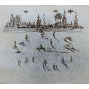 Rubens Gerchman, Cidade, Técnica mista sobre papel, 28 alt X 33 larg (cm), acid