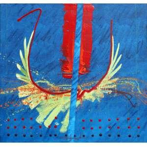 Gilberto Salvador, Traço Rubro, Óleo sobre tela, 60 alt X 60 larg (cm), ass centro e verso, Ano: 1985