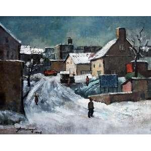Ado Malagoli, Casario e neve, Óleo sobre tela, 38 alt X 46 larg (cm), acie, Ano: 1945