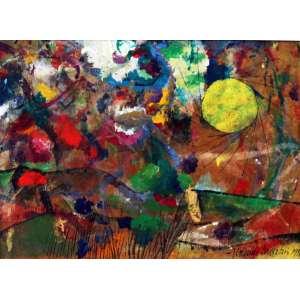 Aldemir Martins, Paisagem - Sol, T. mista s/ papel colada tela, 26 alt X 34 larg (cm), acid e verso, Ano: 1980