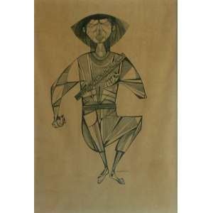 Aldemir Martins, Cangaceiro, Nanquim sobre papel, 61 alt X 45 larg (cm), acid, Ano: 1954 ( Obra acompanha certificado emitido pelo instituto Aldemir Martins)
