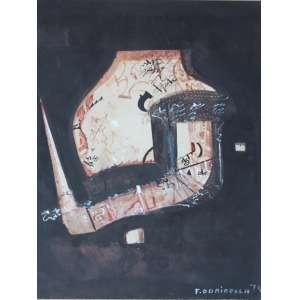 Fernando Odriozola, Composição, Técnica mista sobre madeira, 44 alt X 32 larg (cm), acid, Ano: 1974
