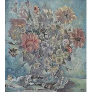 John Graz, Vaso de Flores, Óleo sobre madeira,74 alt X 74 larg (cm), acid, Ano: 1943 - Histórico: Acompanha certificado emitido pelo Instituto John Graz