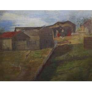 Eliseu Visconti, Casario, Óleo sobre madeira, 29 alt X 36 larg (cm), acid -Histórico: (registrada no Catálogo de Obras de Eliseu Visconti com o código P184)