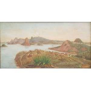 Henrique Tribolet, Baia de Guanabara, Óleo sobre madeira, 27 alt X 47 larg (cm), acid, Ano: 1897