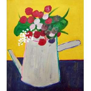 Gustavo Rosa, Bule com Flor, Óleo sobre tela, 48 alt X 38 larg (cm), acid -Histórico: Obra Certificada Pela FUNDAÇÃO Gustavo Rosa