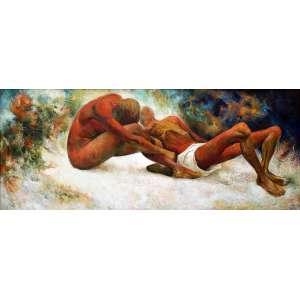 Guilhermo Meza- Composição , óleo sobre tela colada em madeira, 80 alt X 200 larg (cm), acid e verso 1956.