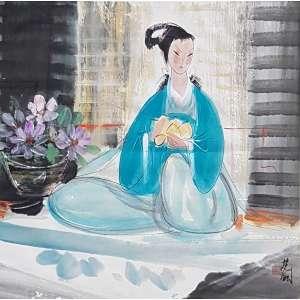 Ling Fengmian, Lady With Flowers, Aquarela, 68 alt X 68 larg (cm), acid -Histórico: Com Certificado emitido pelo Neto do Artista Gerald Gerald Markowitz