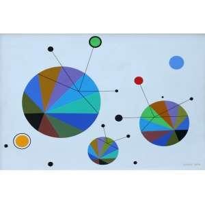 Martha Boto, Comunications N°2, Acrílica sobre madeira, 50 alt X 67 larg (cm), acid e verso, Ano: 1996