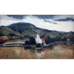 Sylvio Pinto, Paisagem, Óleo sobre madeira, 38 alt X 54 larg (cm), acid e verso, Ano: 1960