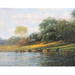 Joao Bosco Campos, Lagoa com Capivaras, Óleo sobre tela, 40 alt X 50 larg (cm), acie e verso, Ano: 2003