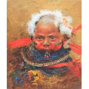Joao Bosco Campos, Criança da tribo caiapó, Óleo sobre tela, 50 alt X 40 larg (cm), acid, Ano: 2003