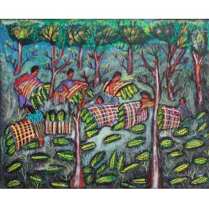 Nilson Pimenta, Colheita de melancia, Óleo sobre tela, 36 alt X 56 larg (cm), aci matriz, Ano: 1993
