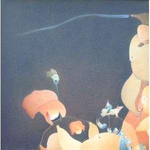 Fernando Coelho, Sonhos e Reflexões, Acrílica sobre tela, 55 alt X 55 larg (cm), acie e verso, Ano: 1981