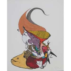 Gen Duarte, Peixes, Técnica mista sobre papel, 39 alt X 28 larg (cm), acid, Ano: 2010