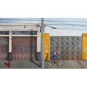 Sergio Free, Ciclista, Óleo sobre tela, 50 alt X 80 larg (cm), ass. no verso, Ano: 2017