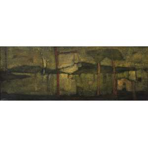 Inos Corradin, Paisagem, Óleo sobre tela, 30,5 alt X 85,5 larg (cm), acie