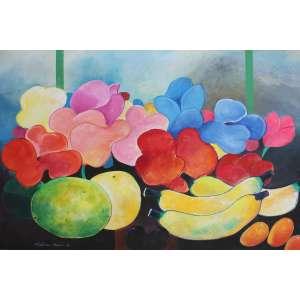 Aldemir Martins, Frutas e Flores, Acrílica sobre tela, 60 alt X 80 larg (cm), acie e verso, Ano: 1991