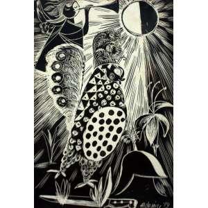 Aldemir Martins, Passaro, Nanquim sobre papel, 17,5 alt X 11,5 larg (cm), acid, Ano: 1949