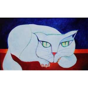 Aldemir Martins, Gato Branco, Acrílica sobre tela, 26,5 alt X 45,5 larg (cm), acid, Ano: 1979 -Histórico: Com Certificado de autenticidade do próprio pintor. Exposição Masp 2005/ Livro página 141