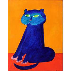 Aldemir Martins, Gato Azul com Fundo Laranja, Acrílica sobre tela, 81 alt X 59,5 larg (cm), acid, Ano: 1968 ( Com selo da Galeria Bonino no verso)