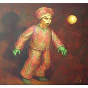 Mário Gruber, Arlequim Fantasiado, Óleo sobre tela, 85 alt X 85 larg (cm), acid, Ano: 2002