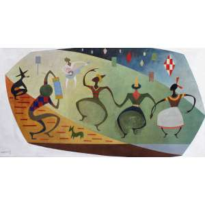 Odetto Guersoni, Festa Junina, Óleo sobre tela, 90 alt X 170 larg (cm), acid, Ano: 1952