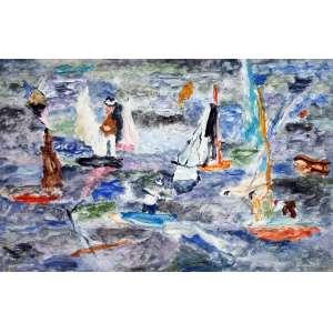 Thomaz Ianelli, Composição em azul, Óleo sobre tela, 70 alt X 100 larg (cm), acid e verso, Ano: 1980