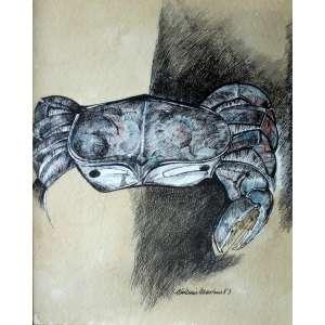 Aldemir Martins, Carangueijo, Nanquim aquarela s/ papel, 35 alt X 25 larg (cm), acid e verso, Ano: 1983