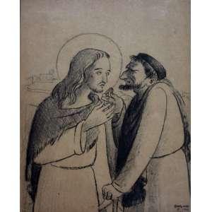 Fúlvio Pennacchi, Cena Biblica, Desenho à Carvão, 28 alt X 22 larg (cm), acid, Ano: 1944 -Histórico: Ilustração do Livro - Vida de Jesus - Plínio Salgado
