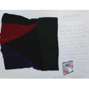 Leda Catunda, Sem titulo, Téc. mista e colagem s/ papel, 36 alt X 42 larg (cm), acid, Ano: 2001 -Histórico: Acompanha certificado emitido pela artista.