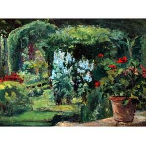 Nivoulies de Pierrfort, Jardim com Vasos de Gerânios, Óleo sobre madeira, 37 alt X 45 larg (cm), acid