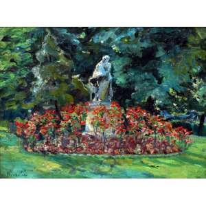 Nivoulies de Pierrfort, Jardim com Escultura, Óleo sobre madeira, 37 alt X 45 larg (cm), acie