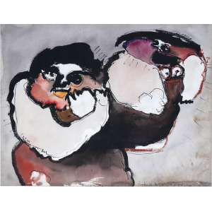 Roberto Magalhães, Figura, Técnica mista sobre papel, 49 alt X 62 larg (cm), acid, Ano: 1965