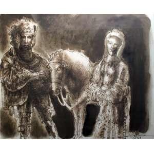 Marcelo Grassmann, Guerreiro Donzela e Cavalo, Técnica mista sobre papel, 49 alt X 65 larg (cm), acid, Ano: 1979
