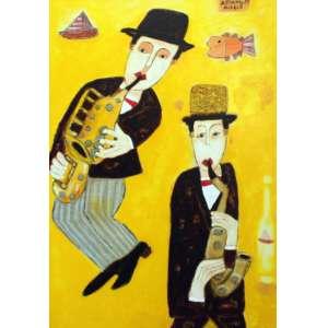 Asfaduroff Nibbes, Les Musicos, Óleo sobre tela, 90 alt X 60 larg (cm), acsd e verso
