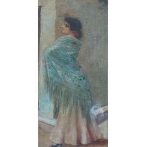 Belmiro de Almeida, Figura de mulher com chale azul, Óleo sobre madeira, 56 alt X 25 larg (cm), acid