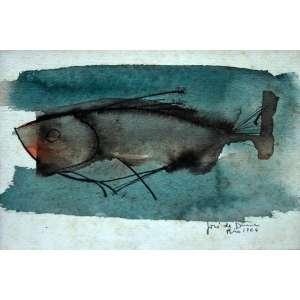 Jose de Dome, Peixe, Técnica mista sobre cartão, 24 alt X 18 larg (cm), acid, Ano: 1964