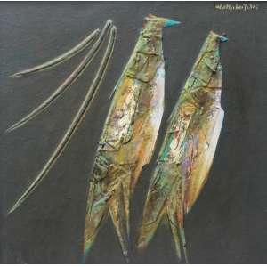 Kazuo Wakabayashi, Abstrato em verde com pássaros, Óleo sobre tela, 45 alt X 45 larg (cm), acsd