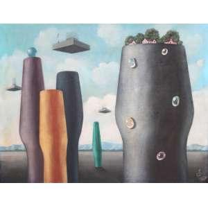 Walter Lewy, Casario e Firas ao Céu, Óleo sobre tela, 72 alt X 93 larg (cm), acie, Ano: 1983