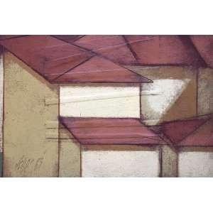 Carlos Scliar, Paisagem LXV, Vinil encerado sobre placa, 19 alt X 27 larg (cm), acid e verso, Ano: 1983