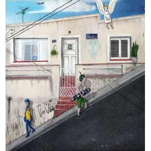 Sergio Free, Rua Cruz da Malta, Óleo sobre tela, 65 alt X 60 larg (cm), acie e verso, Ano: 2019