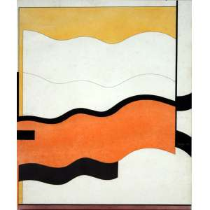Tuneu, Composição Geometrica, Técnica mista sobre papel, 67 alt X 50 larg (cm), acid, Ano: 1997 -Histórico: Obra apresenta pequenos Detalhe