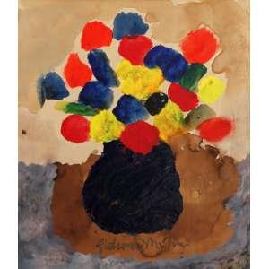 Aldemir Martins, Vaso de Flores, Óleo sobre papel s/ placa, 51 alt X 41 larg (cm), ass. centro