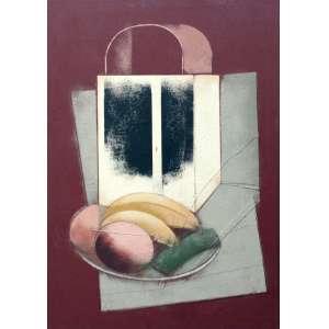 Carlos Scliar, Lampiao e Frutas no Prato, Vinil encerado sobre placa, 56 alt X 37 larg (cm), acid e verso, Ano: 1980
